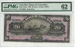 COSTA RICA 20 Pesos 1899 Pick# S165r PMG: 62 UNC. (#1793)