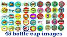 45 Precut Marvel Comic Book & FIGHT Bam Boom Pow Bottle Cap Images FREE DIGITAL