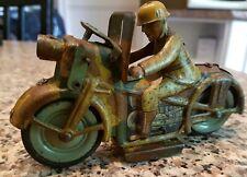 Jouet ancien Moto En Tole Arnold 1940  . Moto militaire.