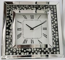 Large Silver Mirrored Black Inlay Floating Crystal Effect Bling Wall Clock