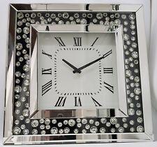 Argent Grand Copié Noir Incrustation Flottant Cristal Effet Bling Horloge Murale