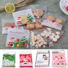 100PCS Self-adhesive Merry Christmas Cookie Candy Package Cellophane Gift Bag-WI