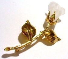 broche ancien bijou vintage en forme de rose effet verre opaline couleur or 356