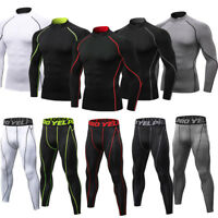 Men's Compression Base Layer Set Fitness Running Basketball Mock Shirt Legging