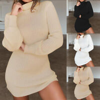 Women Long Sleeve Knitted Sweater Dress Solid High Collar Slim Fit Mini Dr  F gt
