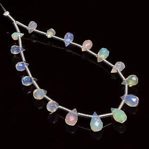 """Natural Ethiopian Opal Gemstone Teardrop Faceted Beads 5X4 8X4mm Strand 5"""" HG391"""