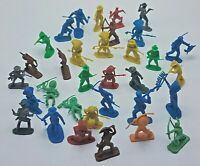 "Vintage Plastic Cowboys and Indians Lot of 33 ~ 2"" Figures Blue Green Red Yellow"