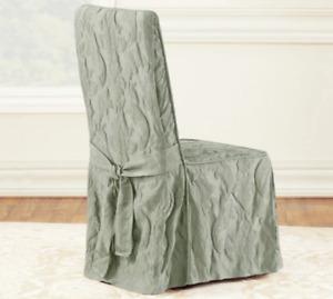 Sure Fit Matelasse Damask Long Dining Chair Slipcover light sage green