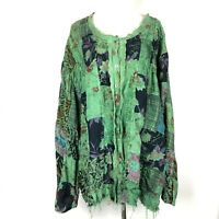Channa Plus Size 3X Jacket Green Patchwork Floral Artsy Button-Front