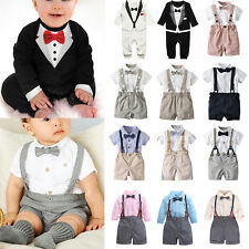 Baby Toddler Kids Boys Wedding Party Tuxedo Formal Bow Tie Suit Clothes Outfits