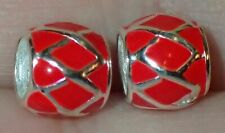 2 Beads 925 Silver Red Enamel ADD TO EUROPEAN STYLE & PANDORA BRACELETS #2362