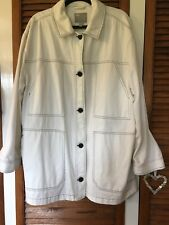 Lovely white summer jacket with navy buttons - ladies' plus size 22