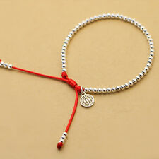New  S925 Sterling Silver Beads  Bracelet   Handmade Lucky Red Rope  Bangle Nice