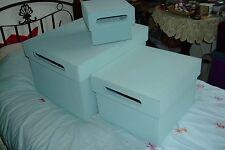 Set of 3 Storage boxes. Pale blue faux suede.