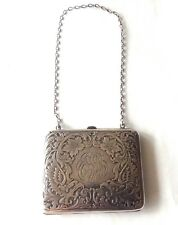 Antique R. BLACKINTON  Sterling Silver Etched Both Sides Floral Purse w/ Chain