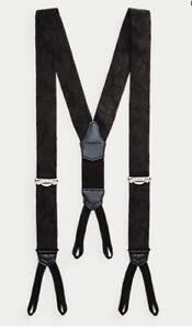 Ralph Lauren RRL Floral Silk-blend Jacquard Braces Black RRP £285