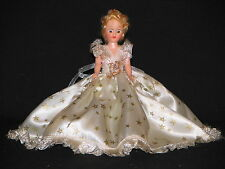 "Doll 7"" Dresser Plastic Molded Arts Co Blonde Sleep eyes Cream dress with Stars"