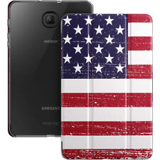 Galaxy Tab A 8.0 Tablet Smart Case Soft Leather Triangle Bracket Cover (Flag)