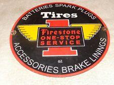 """VINTAGE 1962 FIRESTONE TIRES +SUPPLIES 11 3/4"""" PORCELAIN METAL GASOLINE OIL SIGN"""