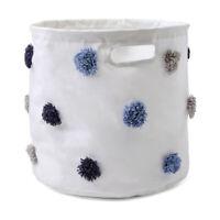 Tufted Design Storage Organise Hamper Laundry Basket - Blue & Grey SZ..