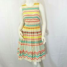 Plenty by Tracy Reese Dress Womens Sz 4 Sunglow Stripes Anthropologie Embroidery