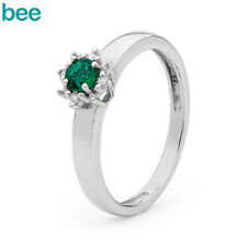 New Classic Cr Emerald And Dia Dress Ring 9ct 9k Solid White Gold Ring