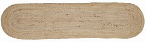 """13' x 48"""" Natural Braided Table Runner Unbleached Jute Tan Oval Rustic Primitive"""