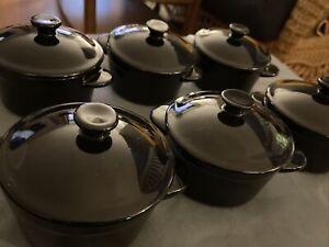 Set 6 Denmark Tools for Cooks Stoneware Mini Crock Ramekin W Lid Black 083A