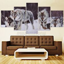 US 5pcs Wolf Snow Field Canvas Picture Art Unframed Painting Home Wall Decor
