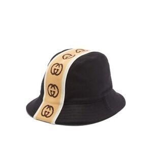 New With Tags Gucci Interlocking GG Jacquard Wool-Felt Bucket Hat Size S $530.00