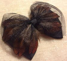 Black Hair Bow Fascinator Feathered Black Diamond Net Lolita Rockabilly Pinup