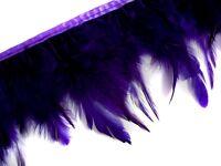 F221 PER FEET-Deep Purple Rooster Hackle Hen feather fringe Trim Fascinator