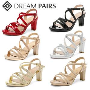 DREAM PARIS Women's Chunky Heel Sandals Ankle Strap Open Toe Pump Dress Shoes