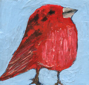 12x12 Print - Red Summer Tanager Bird Animal Wall Art Print Katie Jeanne Wood