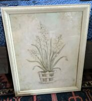CARVED WOOD PICTURE FRAME ANTIQUE-STYLE GLASS VTG 20x16 OPENING VTG LARGE WHITE