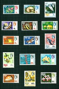 Fiji 1969 short set 16 to $1 lake-brown, black & ochre sg391/406 on 2 pages..