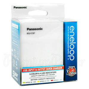 Panasonic eneloop BQ-CC87 Charger USB Input & Output Quick for AA & AAA recharge
