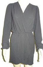 Women's Missguided Wrap Front Plain Skater Dress Black UK Size 6/eu 34 Vr69 04