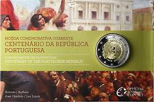 Portugal 2 euros conmemorativa 2010 pp 100 años república en coincard