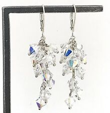 Crystal Cluster Lever Wire Earrings Vintage .925 Sterling Silver Dangling