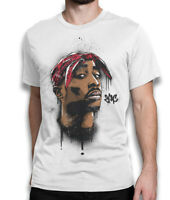 2Pac Spray Art T-Shirt, Tupac Shakur Hip-Hop Rap Tee