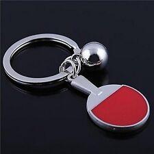 Porte-clés, bijoux de sac, raquette et balle de ping pong acier inoxydable.