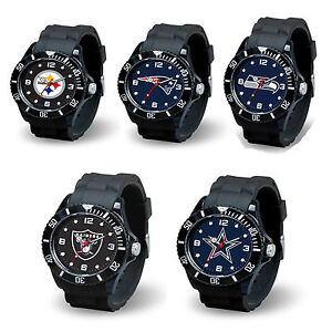 Football Team Black Licensed Sparo Spirit Wrist Watch -Pick Your Team Collection