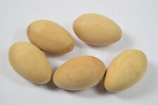 5 pcs of WOODEN EGGS turned 100% Natural Wood high quality craft painting plain