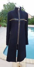 GARETH PUGH BLACK WOOL ZIPPER LEATHER TRIM OUTER COAT Sz 50 ITALIAN 14 US