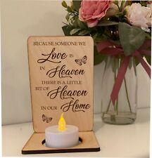 Tea Light Candle Holder Someone In Heaven Plaque Sign Gift Laser Engraved cd2