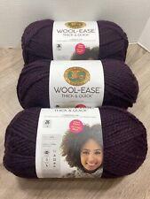 New listing Lion Brand Wool-Ease Thick & Quick Bonus Bundle Yarn Lot of 3 Eggplant