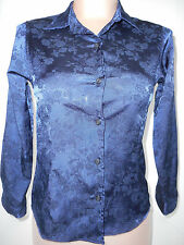 Versace Womens Junior Girls Button Front Long Sleeve Blouse Shirt Blue Small 10