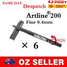 6 x ARTLINE 200 0.4mm FINE FINELINER MARKER BLACK FELT TIP Line Pens