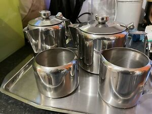 5 Piece solid 18- 8 Stainless Steel Tea Set - Tray, Teapot Etc - Nice Condition
